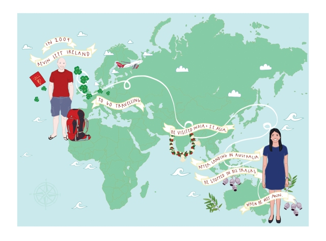 Ann and Kevin International Wedding Stationery Map Only